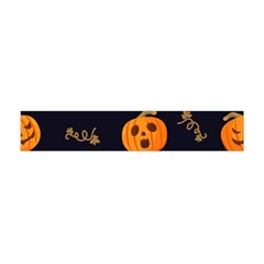 Funny Scary Black Orange Halloween Pumpkins Pattern Flano Scarf (mini)