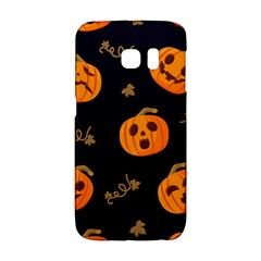 Funny Scary Black Orange Halloween Pumpkins Pattern Samsung Galaxy S6 Edge Hardshell Case by HalloweenParty