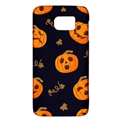 Funny Scary Black Orange Halloween Pumpkins Pattern Samsung Galaxy S6 Hardshell Case