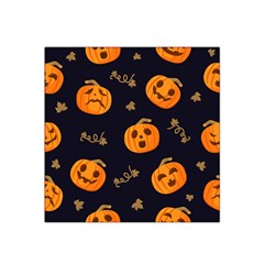 Funny Scary Black Orange Halloween Pumpkins Pattern Satin Bandana Scarf by HalloweenParty