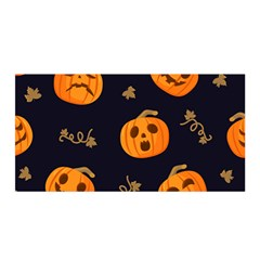 Funny Scary Black Orange Halloween Pumpkins Pattern Satin Wrap
