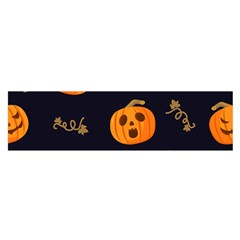Funny Scary Black Orange Halloween Pumpkins Pattern Satin Scarf (oblong)