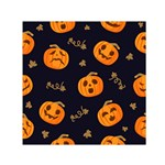 Funny Scary Black Orange Halloween Pumpkins Pattern Small Satin Scarf (Square) Front