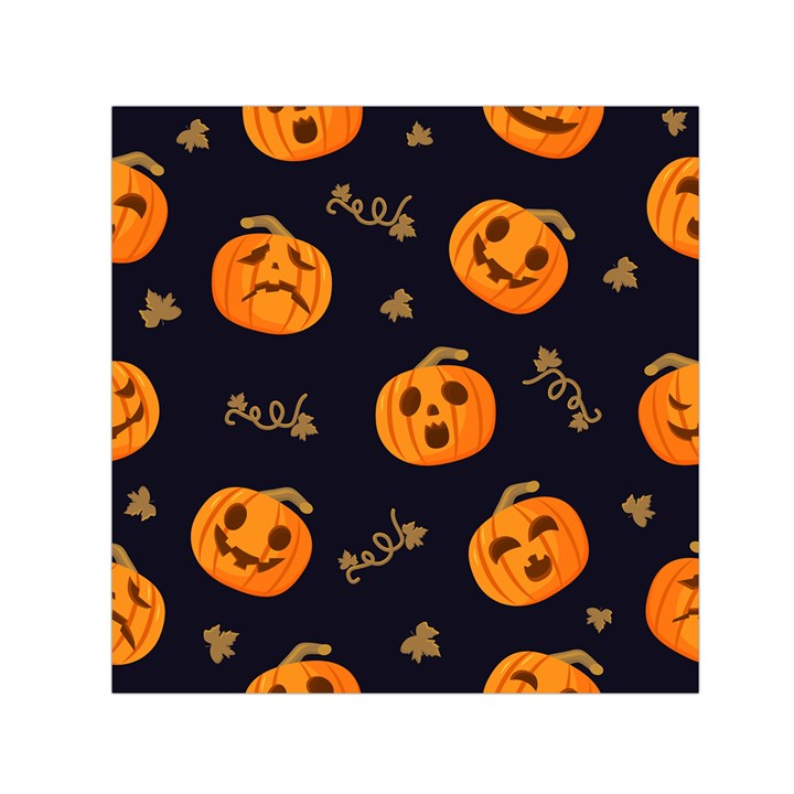 Funny Scary Black Orange Halloween Pumpkins Pattern Small Satin Scarf (Square)