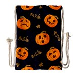 Funny Scary Black Orange Halloween Pumpkins Pattern Drawstring Bag (Large) Front