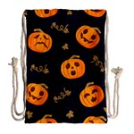 Funny Scary Black Orange Halloween Pumpkins Pattern Drawstring Bag (Large) Back