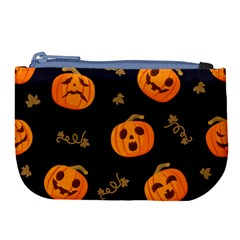 Funny Scary Black Orange Halloween Pumpkins Pattern Large Coin Purse