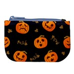 Funny Scary Black Orange Halloween Pumpkins Pattern Large Coin Purse Front
