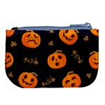 Funny Scary Black Orange Halloween Pumpkins Pattern Large Coin Purse Back
