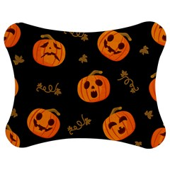 Funny Scary Black Orange Halloween Pumpkins Pattern Jigsaw Puzzle Photo Stand (bow)