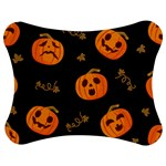 Funny Scary Black Orange Halloween Pumpkins Pattern Jigsaw Puzzle Photo Stand (Bow) Front