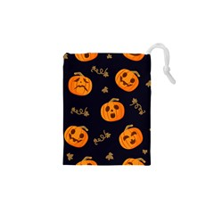 Funny Scary Black Orange Halloween Pumpkins Pattern Drawstring Pouch (xs) by HalloweenParty