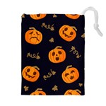 Funny Scary Black Orange Halloween Pumpkins Pattern Drawstring Pouch (XL) Front