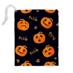 Funny Scary Black Orange Halloween Pumpkins Pattern Drawstring Pouch (XL) Back