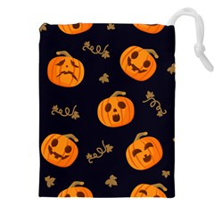 Funny Scary Black Orange Halloween Pumpkins Pattern Drawstring Pouch (xxl)