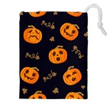 Funny Scary Black Orange Halloween Pumpkins Pattern Drawstring Pouch (XXL) Front