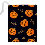 Funny Scary Black Orange Halloween Pumpkins Pattern Drawstring Pouch (XXL) Back