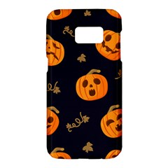 Funny Scary Black Orange Halloween Pumpkins Pattern Samsung Galaxy S7 Hardshell Case