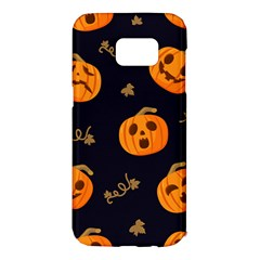 Funny Scary Black Orange Halloween Pumpkins Pattern Samsung Galaxy S7 Edge Hardshell Case