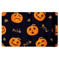 Funny Scary Black Orange Halloween Pumpkins Pattern Apple Ipad Pro 12 9   Flip Case