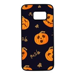 Funny Scary Black Orange Halloween Pumpkins Pattern Samsung Galaxy S7 Black Seamless Case by HalloweenParty