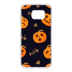 Funny Scary Black Orange Halloween Pumpkins Pattern Samsung Galaxy S7 Edge White Seamless Case