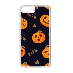 Funny Scary Black Orange Halloween Pumpkins Pattern Apple Iphone 7 Plus Seamless Case (white)