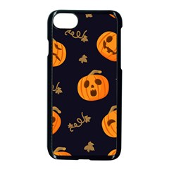 Funny Scary Black Orange Halloween Pumpkins Pattern Apple Iphone 7 Seamless Case (black)