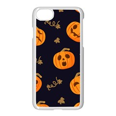 Funny Scary Black Orange Halloween Pumpkins Pattern Apple Iphone 7 Seamless Case (white)
