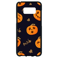 Funny Scary Black Orange Halloween Pumpkins Pattern Samsung Galaxy S8 Black Seamless Case