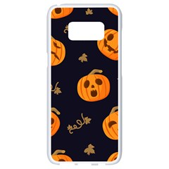 Funny Scary Black Orange Halloween Pumpkins Pattern Samsung Galaxy S8 White Seamless Case