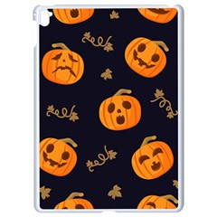 Funny Scary Black Orange Halloween Pumpkins Pattern Apple Ipad Pro 9 7   White Seamless Case