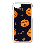 Funny Scary Black Orange Halloween Pumpkins Pattern Apple iPhone 8 Seamless Case (White) Front