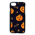 Funny Scary Black Orange Halloween Pumpkins Pattern Apple iPhone 8 Seamless Case (Black) Front