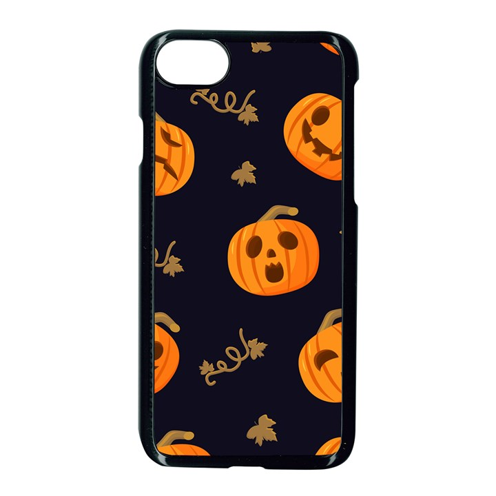 Funny Scary Black Orange Halloween Pumpkins Pattern Apple iPhone 8 Seamless Case (Black)