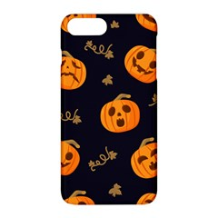 Funny Scary Black Orange Halloween Pumpkins Pattern Apple Iphone 8 Plus Hardshell Case