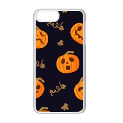 Funny Scary Black Orange Halloween Pumpkins Pattern Apple Iphone 8 Plus Seamless Case (white)