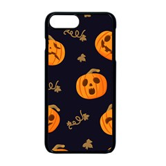 Funny Scary Black Orange Halloween Pumpkins Pattern Apple Iphone 8 Plus Seamless Case (black)