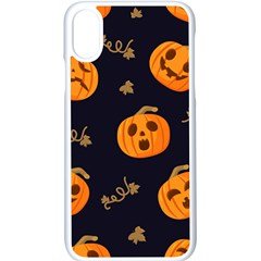 Funny Scary Black Orange Halloween Pumpkins Pattern Apple Iphone X Seamless Case (white)