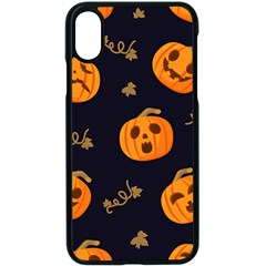 Funny Scary Black Orange Halloween Pumpkins Pattern Apple Iphone X Seamless Case (black)