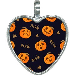 Funny Scary Black Orange Halloween Pumpkins Pattern Heart Necklace