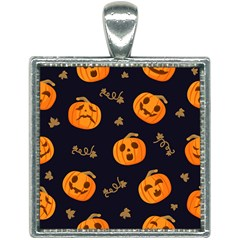 Funny Scary Black Orange Halloween Pumpkins Pattern Square Necklace