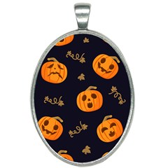 Funny Scary Black Orange Halloween Pumpkins Pattern Oval Necklace by HalloweenParty
