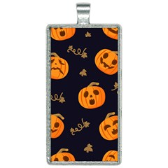Funny Scary Black Orange Halloween Pumpkins Pattern Rectangle Necklace