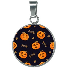 Funny Scary Black Orange Halloween Pumpkins Pattern 20mm Round Necklace