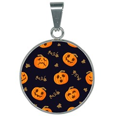Funny Scary Black Orange Halloween Pumpkins Pattern 25mm Round Necklace by HalloweenParty
