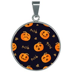 Funny Scary Black Orange Halloween Pumpkins Pattern 30mm Round Necklace