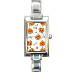 Funny Spooky Halloween Pumpkins Pattern White Orange Rectangle Italian Charm Watch