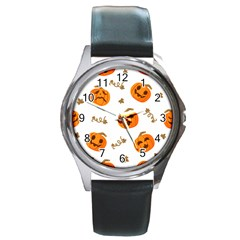 Funny Spooky Halloween Pumpkins Pattern White Orange Round Metal Watch