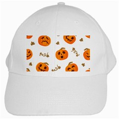 Funny Spooky Halloween Pumpkins Pattern White Orange White Cap by HalloweenParty